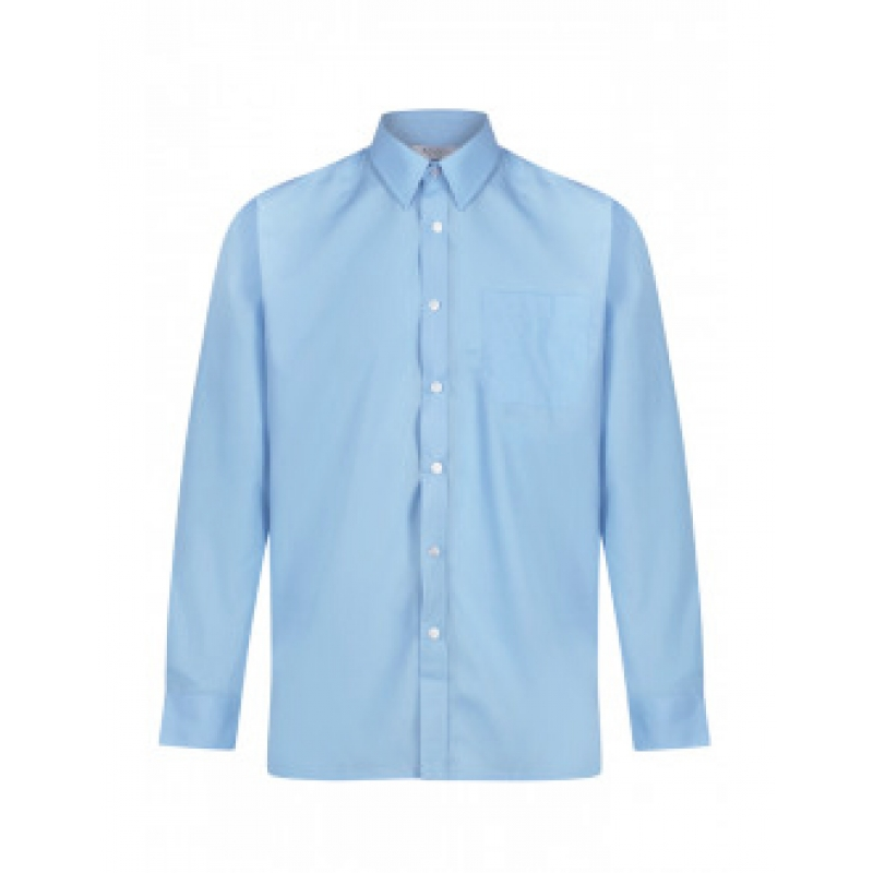 "Boys' Long Sleeve Shirts Sky Blue upto 14"" Collar TWIN PACK"