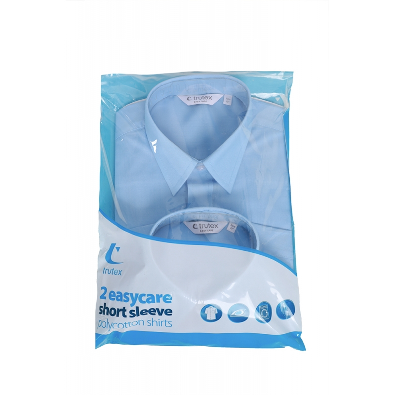 "Boys' Short Sleeve Shirts Sky Blue upto 14"" Collar TWIN PACK"