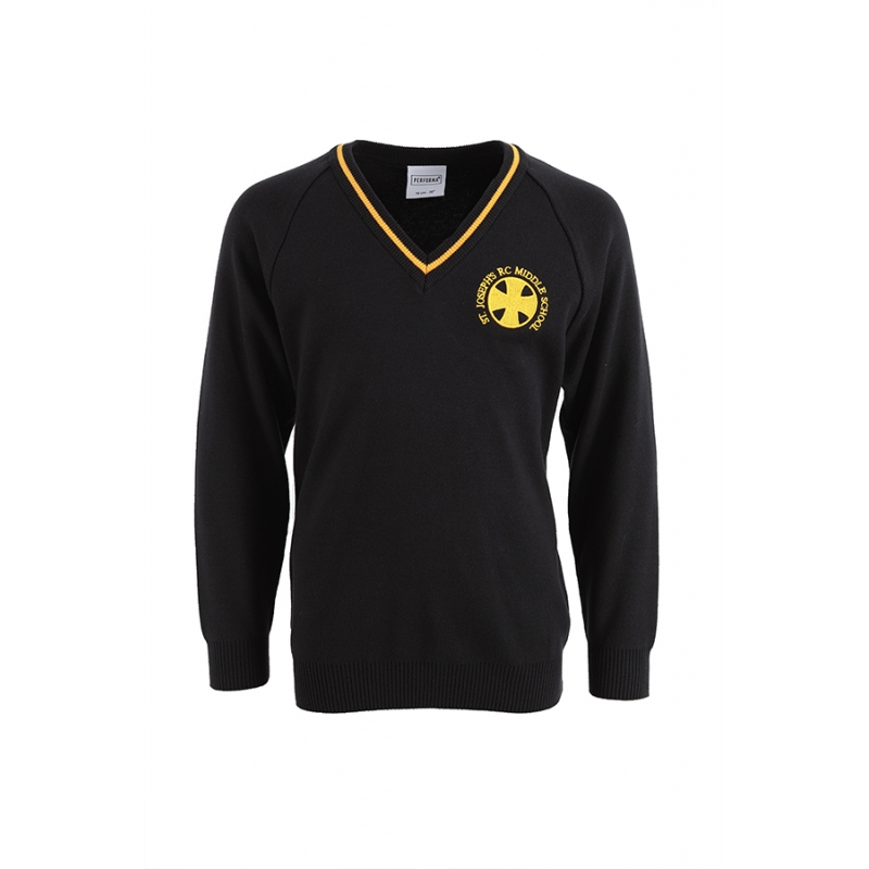 St Joseph's R.C. Middle School Navy/Gold V-Neck Striped Jumper