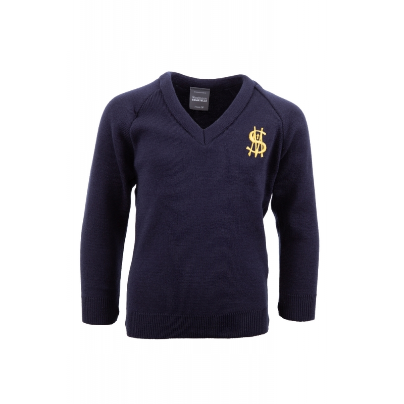 St Matthew's Navy V-Neck Jumper